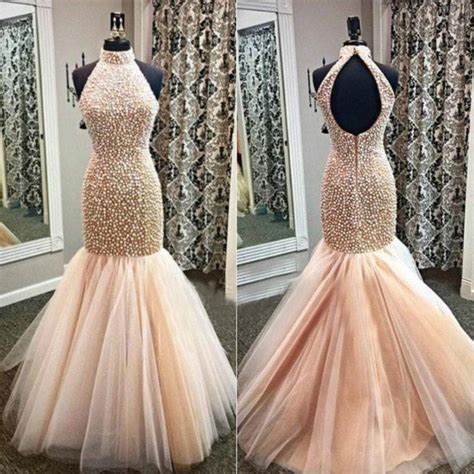 backless beaded prom dress chagne mermaid prom dress gowns 2016 mermaid open