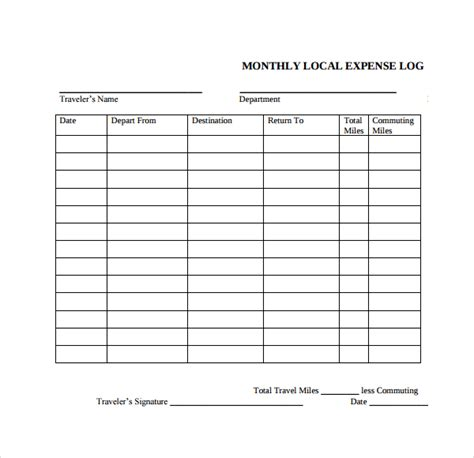 sample expense log template 9 free documents in pdf