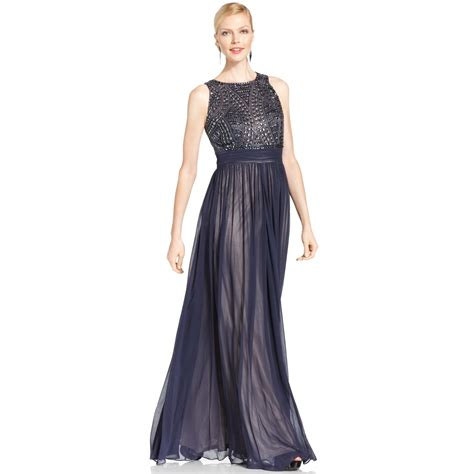 js collection beaded gown js collections sleeveless beaded empirewaist gown in blue