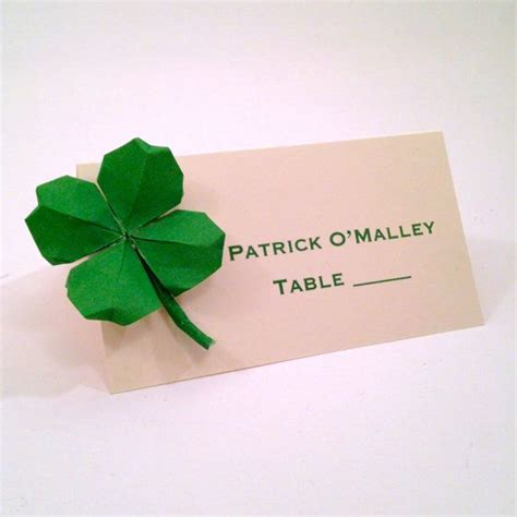 origami four leaf clover st s day shamrock place cards four leaf clover