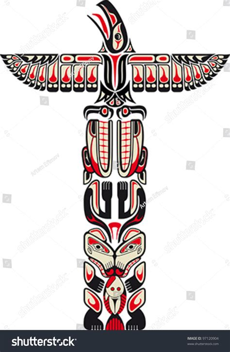 haida style totem pattern created animal stock vector