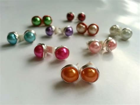 how to make beaded stud earrings wire wrapped bead stud earrings tutorial beading and