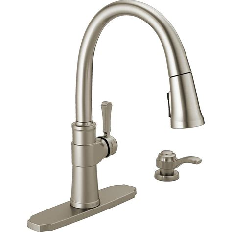 delta kitchen faucets home depot delta spargo single handle pull sprayer kitchen faucet with soap dispenser in spotshield