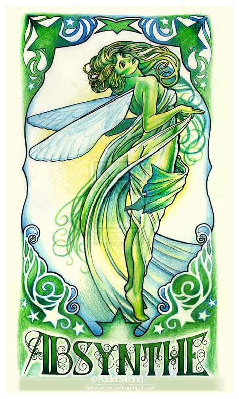 mucha absinthe fairy by hatefueled on deviantart