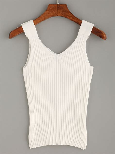 knitted tank top white ribbed knit tank top