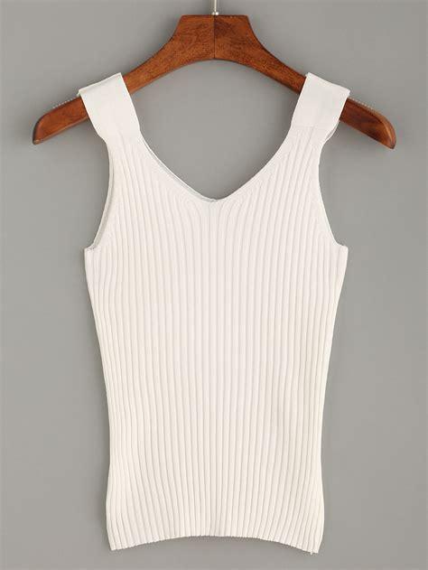 knit tank top white ribbed knit tank top