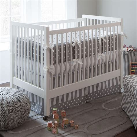gray crib bedding sets gray and white dots and stripes crib bedding neutral
