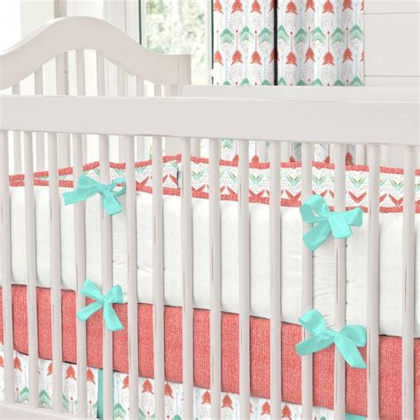 teal crib bedding coral and teal arrow crib bedding carousel designs