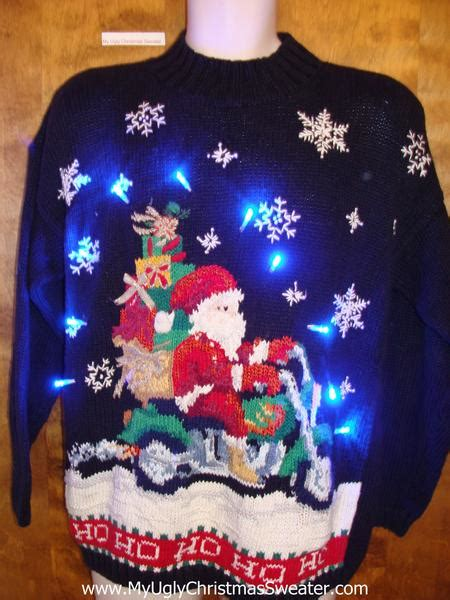 Sweaters With Lights And by Motorcycle Santa Sweater With Lights