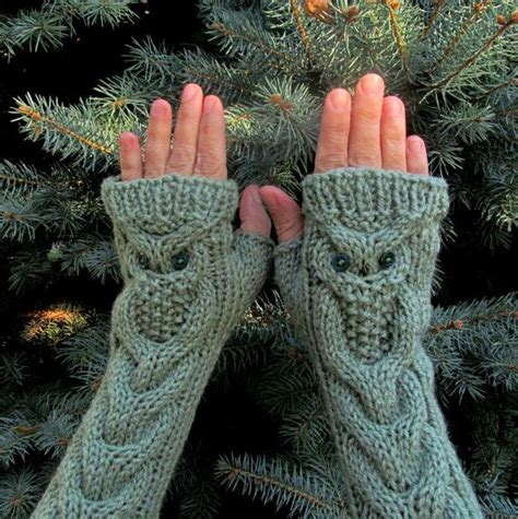 owl fingerless gloves knitting pattern items similar to owl oatmeal knit cable pattern
