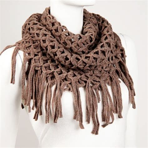 how to put tassels on a knitted scarf nwot khaki mesh knit fringe infinity scarf os from mala s