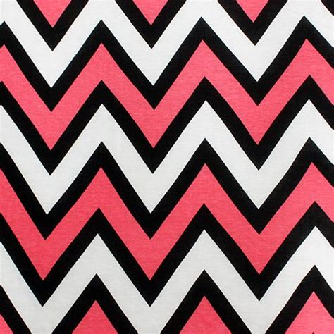 chevron knit fabric coral pink black and white big chevron cotton jersey blend