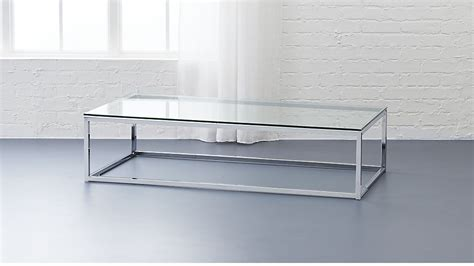 glass top coffee table smart glass chrome and glass coffee table cb2