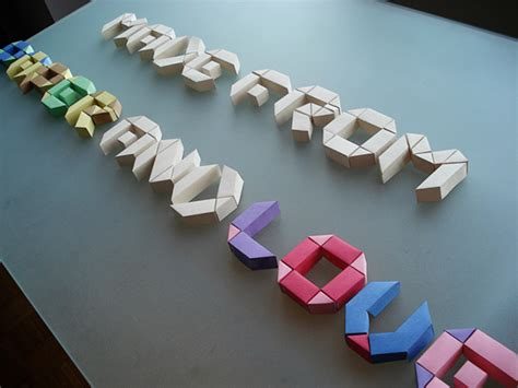 3d origami letters paper typeface on behance