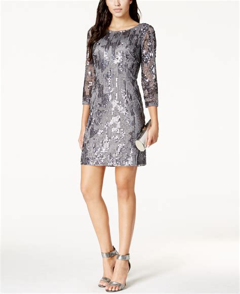 beaded sheath dress papell beaded sequined sheath dress in metallic