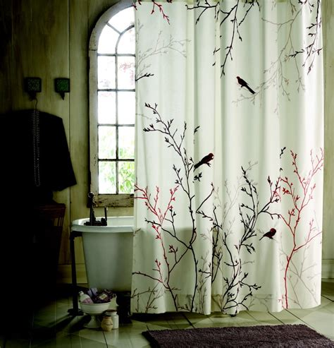 bathroom curtain sets for showers and windows bird and branch patterned shower curtains sets