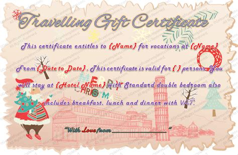blank award templates holiday travel gift certificate template