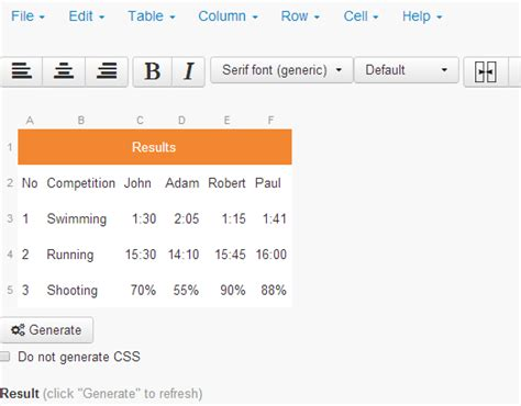 table html generator create html table with html table generator in