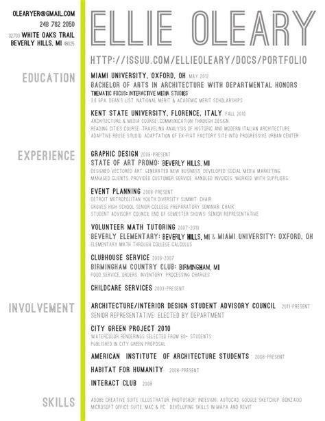 architecture student resume experience involment skills