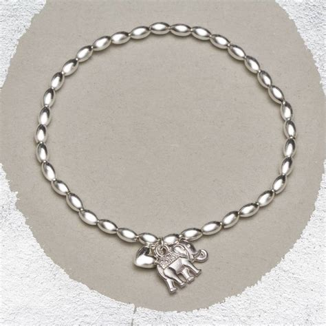 Helena Silver Elephant Bead Bracelet By Bloom Boutique