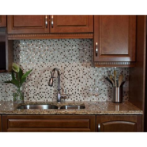 stick on kitchen backsplash smart tiles minimo cantera 11 55 in w x 9 64 in h peel and stick self adhesive decorative
