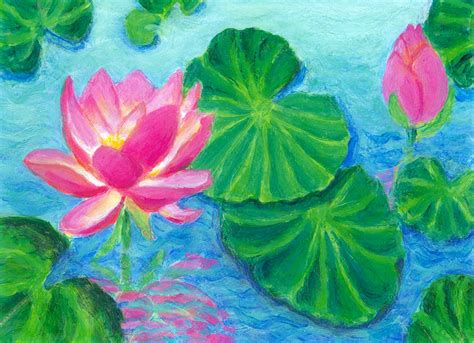 acrylic painting water lilies water lilies with pink lotus heni s happy paintings