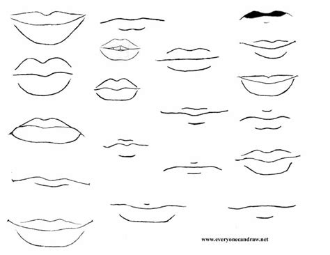 how to draw mouths portrait drawings step by step