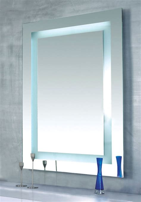 modern contemporary bathroom mirrors plaza dimmable lighted mirror by edge lighting