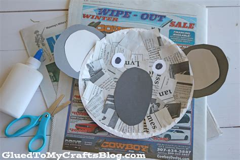 koala paper plate craft newspaper koala kid craft glued to my crafts