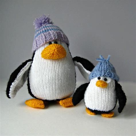 knitted penguin bobble and penguins knitting pattern by amanda