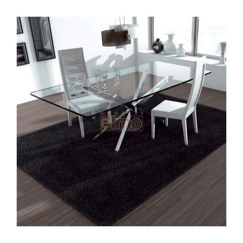 table de salle 224 manger moderne pied m 233 tal plateau verre trapeze