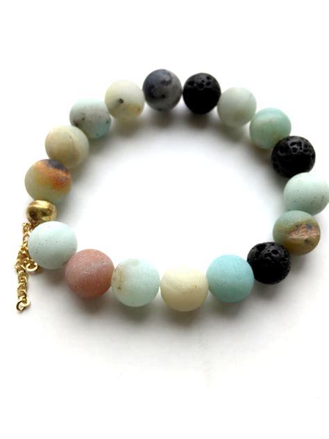 gemstone for jewelry amazonite beaded lava bead bracelet handmade jewelry by