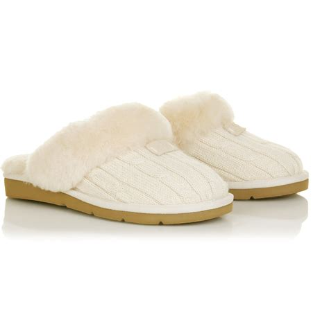 cozy knit ugg slippers ugg cozy knit slippers in white lyst