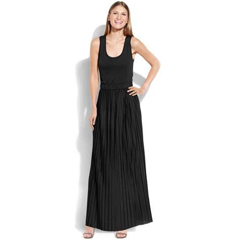 knit maxi dress calvin klein sleeveless pleated knit maxi dress in black