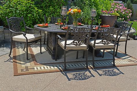 cast aluminum patio furniture sets serena luxury 6 person all welded cast aluminum patio