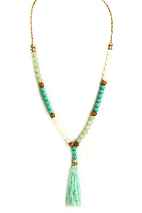 Glass Bead Tassel Necklace Necklaces