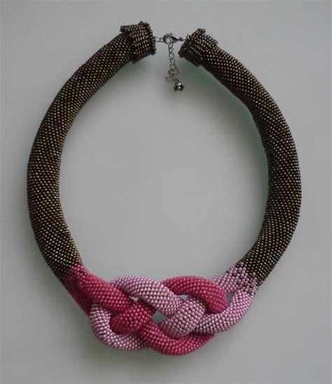 crochet bead necklace beaded necklace beaded crochet necklace crochet bead
