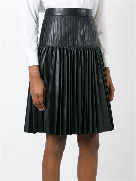 leather pleated skirt givenchy pleated leather skirt in black lyst