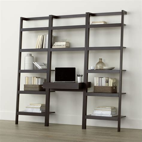 leaning bookshelf desk sawyer mocha leaning desk with two 24 5 quot bookcases contemporary desks and hutches by crate