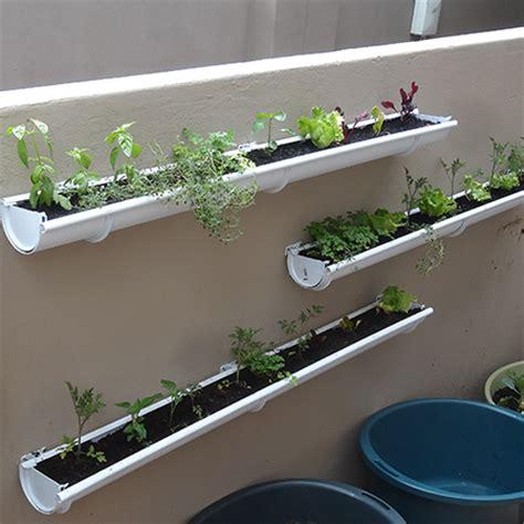 wall mounted garden home dzine garden ideas adding a herb and veggie gutter