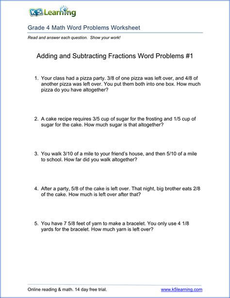 for 4th graders 4th grade word problem worksheets printable k5 learning