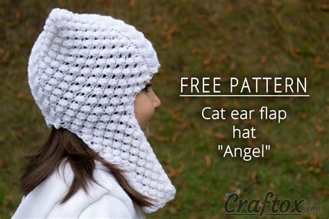 knit hat with ear flaps free patterns cat ear flap hat quot quot free knitting pattern