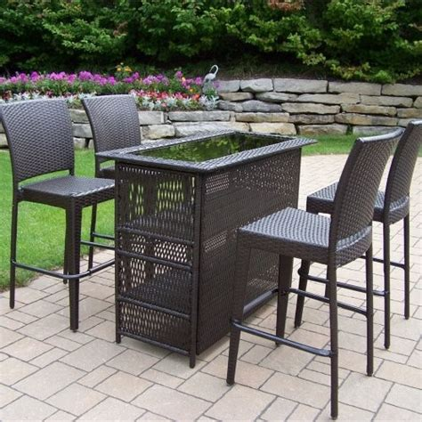 patio bar furniture set oakland living all weather wicker patio bar set