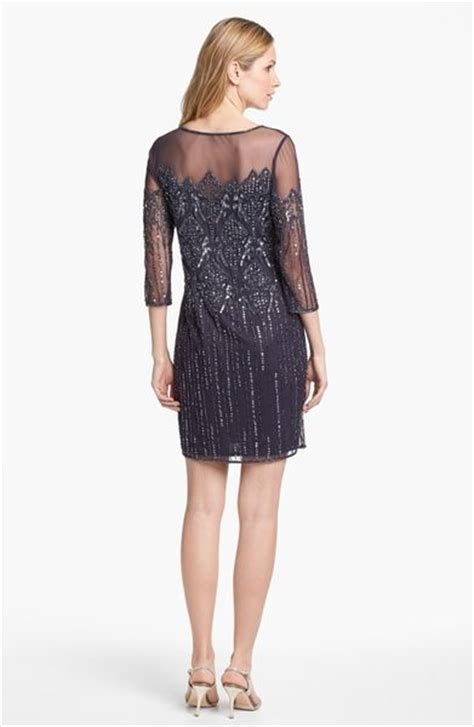 pisarro nights beaded dress pisarro nights illusion yoke beaded cocktail dress in gray