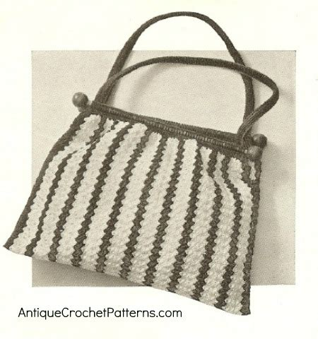 how to knit a bag crocheted knitting bag free vintage crochet pattern