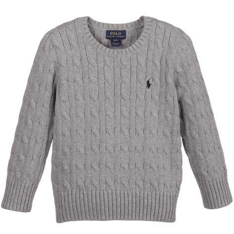 cable knit sweater for boys polo ralph boys grey cotton cable knit sweater