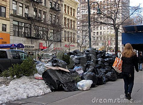 Garden City Ny Garbage Up Pile Of Trash On In New York City Editorial Stock