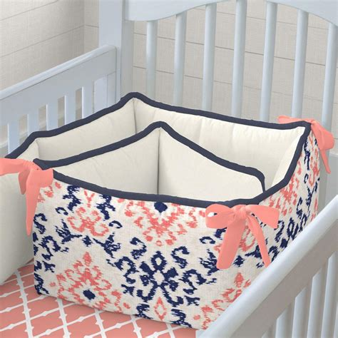 and navy crib bedding navy and coral ikat crib bedding carousel designs