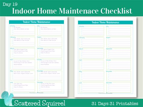 day 19 indoor home maintenance checklists