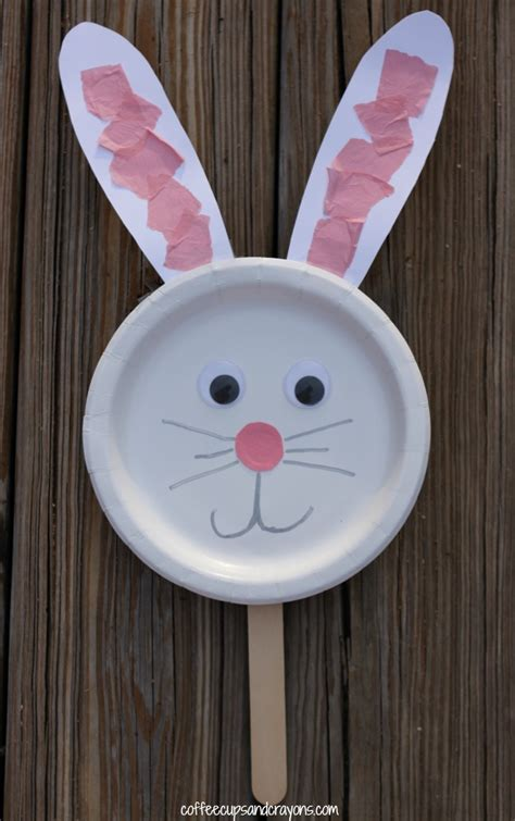 paper plate bunny craft bunny paper plate puppet craft coffee cups and crayons